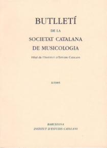 Butlletí de la Societat Catalana de Musicologia II / 1985