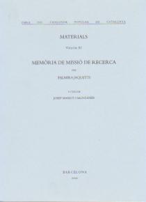 Memoria de misión de investigación. Materiales. (volúmen XI)