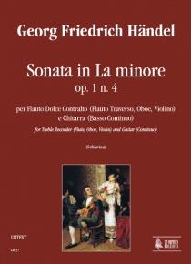 Sonata in A min Op. 1 No. 4 for Treble Recorder (Flute, Oboe, Violin) and Guitar (Continuo), de George Frideric Handel