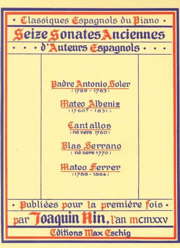 Seise Sonates Anciennes d'auteurs Espagnols