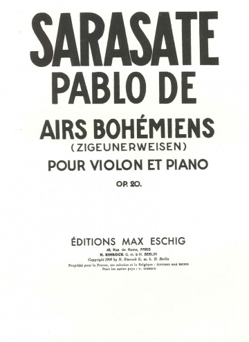 Airs Bohémiens (vn) op. 20