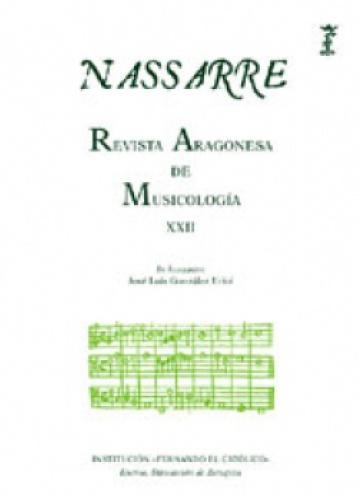 Nassarre. Revista Aragonesa de Musicología, XXII