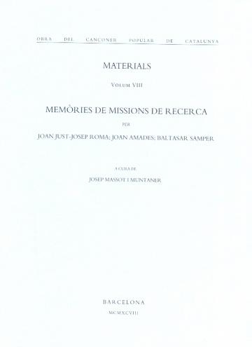 Obra del cançoner popular de Catalunya. Materials volum VIII