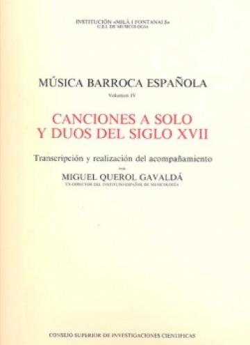 Música barroca española vol. IV - Canciones a solo y a duo del siglo XVII