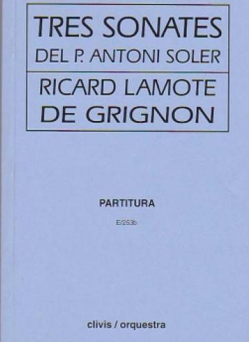 Tres sonatas del P. Antoni Soler