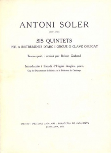 Six quintets, for string instruments and organ or hapsichord obligato