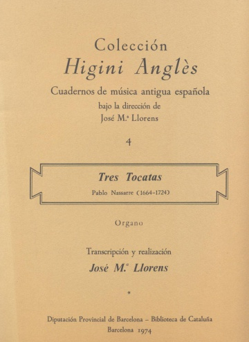 Colección de música antigua española: Tres tocatas