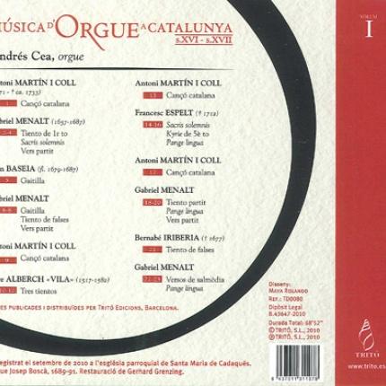 Música d'orgue a Catalunya s.XVI - s. XVII  vol. I